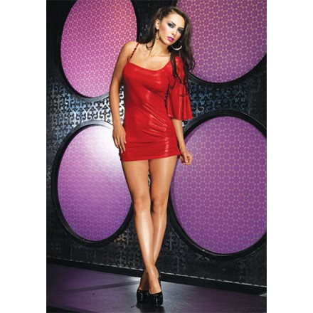 leg avenue mini vestido asimetrico con tirante de strass rojo