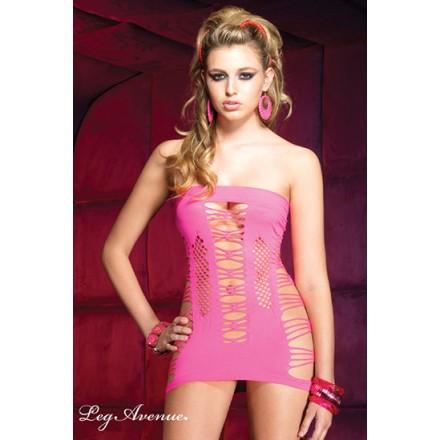 leg avenue vestido de tubo y palabra de honor rosa con entrelazados