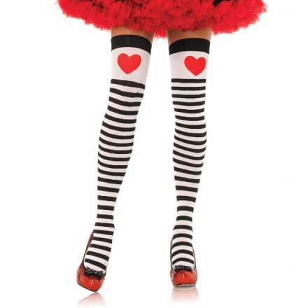 leg avenue medias a rayas con corazon rojo en parte superior