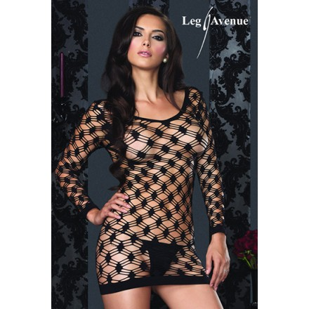 leg avenue mini vestido de manga larga de red ancha