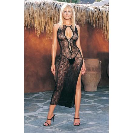 leg avenue vestido largo con profundo escote en v y estampado de remolinos