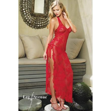 leg avenue vestido largo con entrelazado lateral y tanga a juego negro