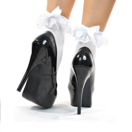 leg avenue calcetines negros con volante decorativo y lazo