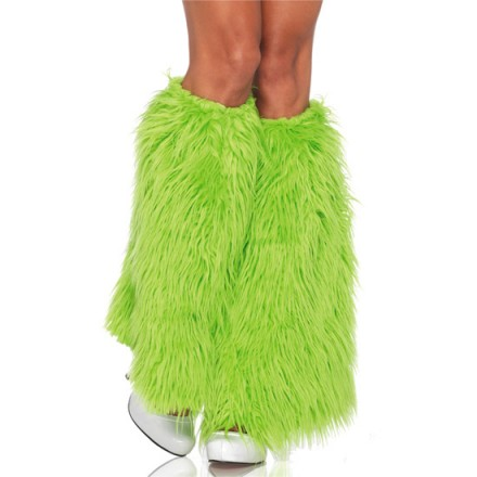 leg avenue calentadores de piernas peludos verde neon