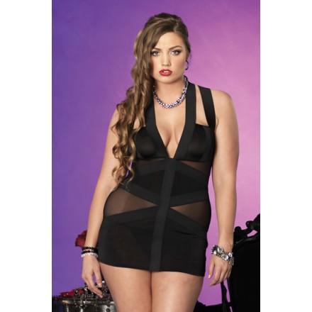 leg avenue vestido estilo bondage con transparencias negro plus