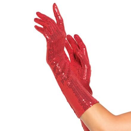 leg avenue guantes de lentejuelas de color rojo