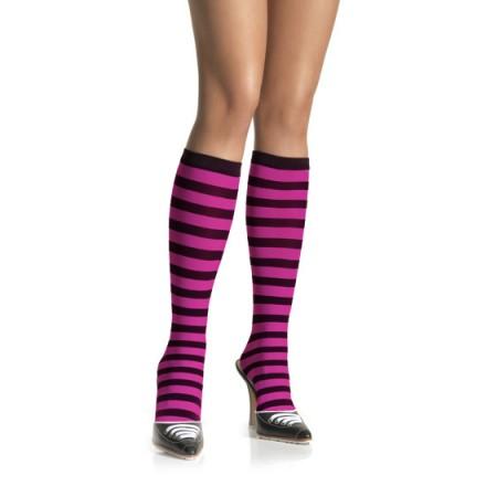 leg avenue calcetines altos a rayas negro rosa