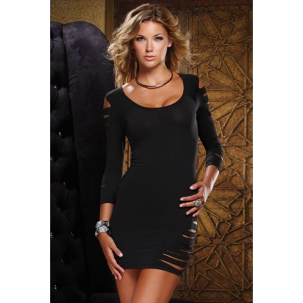 forplay mini vestido negro manga larga