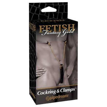 fetish fantasy gold anillo para el pene y pinzas para los pezones