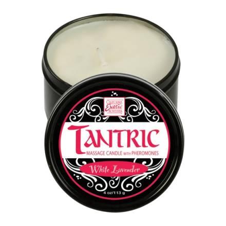 vela de masaje tantric con feromonas lavanda blanca