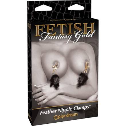 fetish fantasy gold pinzas para los pezones con plumas