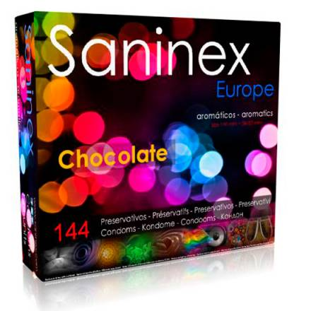 saninex preservativos chocolate aromatico liso 144 uds