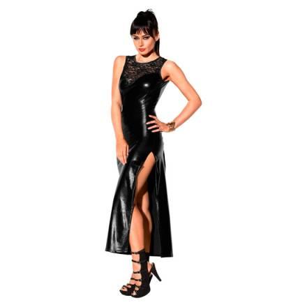 vestido largo metalico de encaje negro