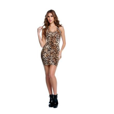 vestido con cuello forma de u estampado leopardo