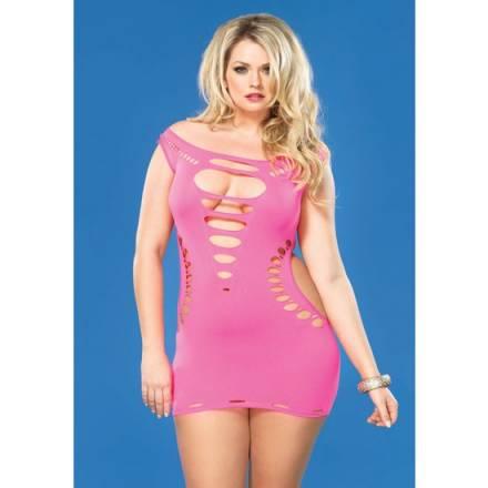 leg avenue mini vestido con costuras y aberturas rosa