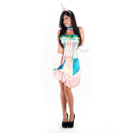 picaresque disfraz bufona sexy multicolor