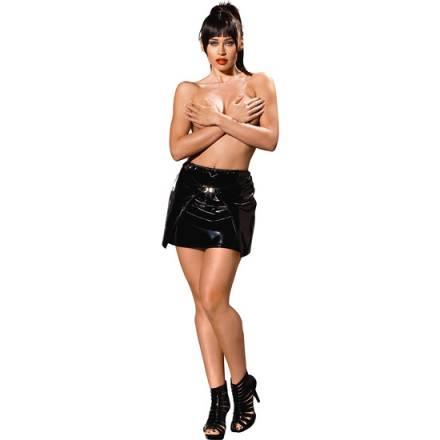 mini falda con abertura negra