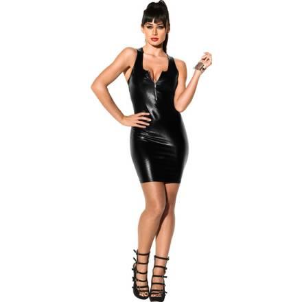 wetlook vestido corto con cremellera negro