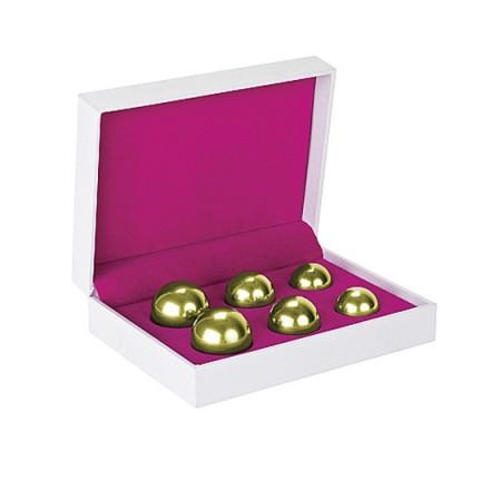 set 6 bolas chinas ben wa balls distinto peso dorado