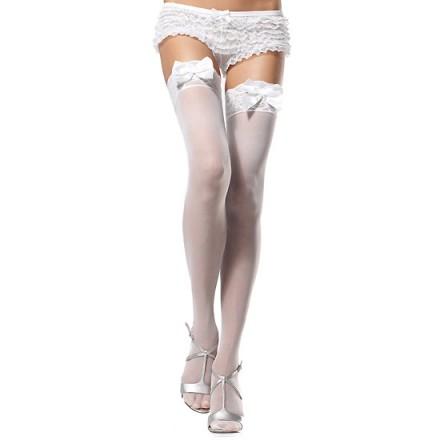 leg avenue medias negras con detalle superior de encaje y lazo satinado