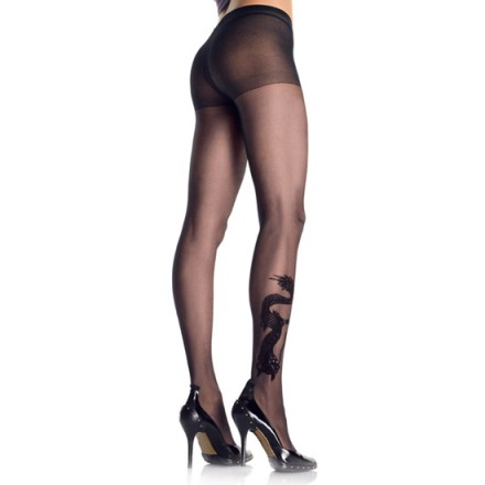 leg avenue panties negros con efecto tatuaje de dragon