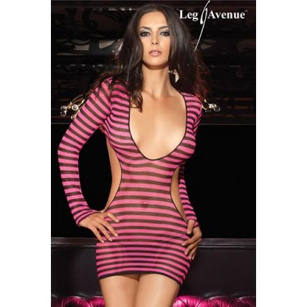 leg avenue mini vestido de red a rayas con abertura en la espalda y tanga a juego rosa