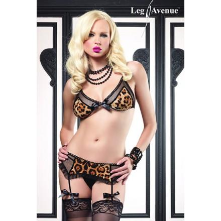 leg avenue conjunto sujetador tanga y liguero estampado de leopardo