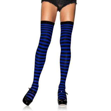 leg avenue medias opacas a rayas azul y negro