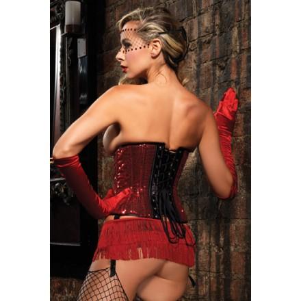leg avenue mini falda de flecos rojos
