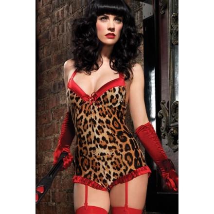 leg avenue body de leopardo y cintas de liguero de color rojo