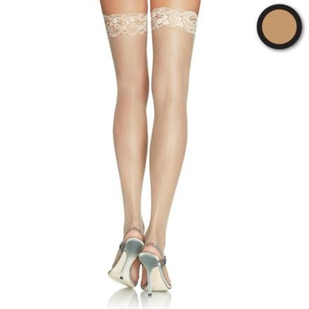 leg avenue medias con costura y encaje en la parte superior nude plus