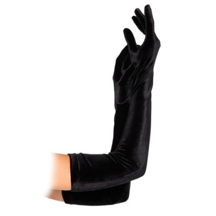 leg avenue guantes extra largos negros aterciopelados