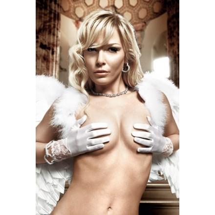 baci guantes satinados con encajes blanco