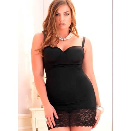 leg avenue mini vestido negro con falda de encaje