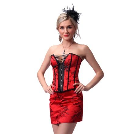 intimax corset rojo con falda de tubo a juego