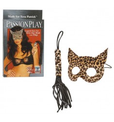 PASSION PLAY LEOPARD KITTY KAT MASK WITH WHIP