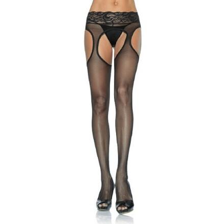 leg avenue pantys en negro efecto liguero con encaje en la cintura