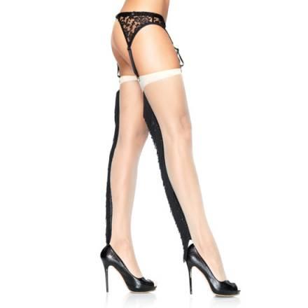 leg avenue medias nude con costura trasera de flecos
