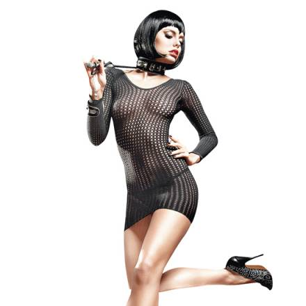 baci vestido de rejilla con manga larga negro