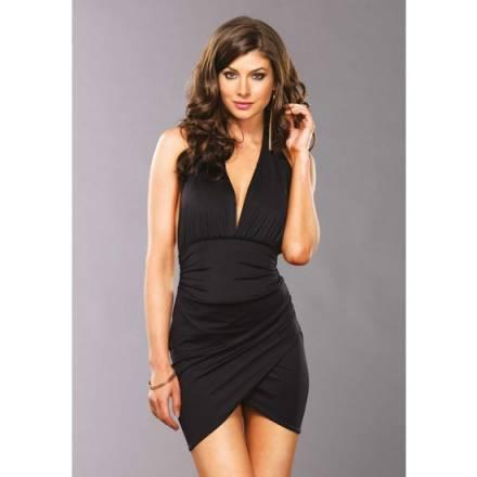leg avenue mini vestido halter spandex escote v y falda cruzada