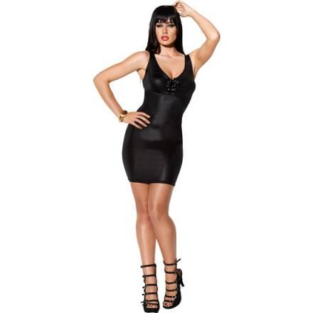 wetlook vestido basico negro