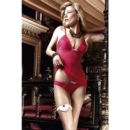 baci conjunto camison y bikini de malla y encaje rojo