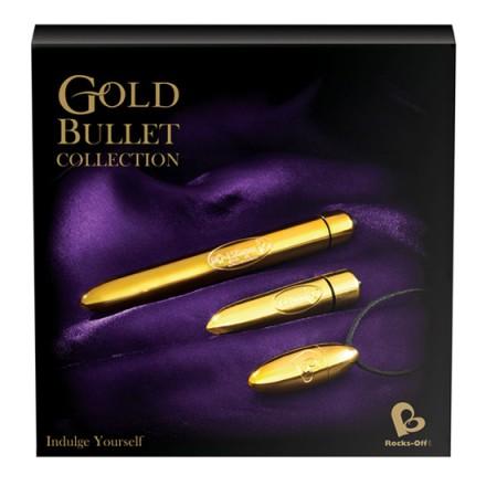 caja regalo set de vibradores dorados