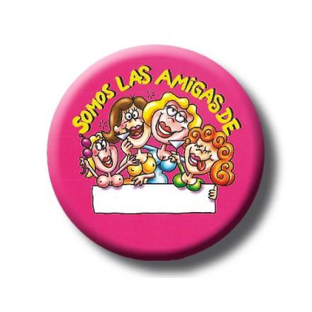 chapa somos las amigas personalizable rosa