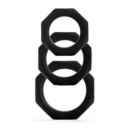 anillo para el pene octagon 3 tamaños negro