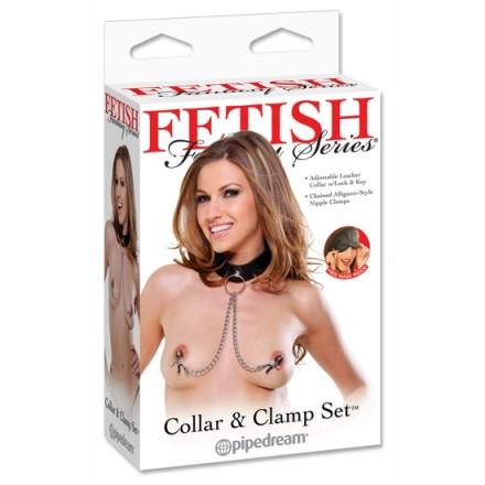 fetish fantasy pinzas para pezones con collar