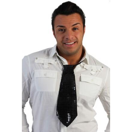 corbata de lentejuelas negra