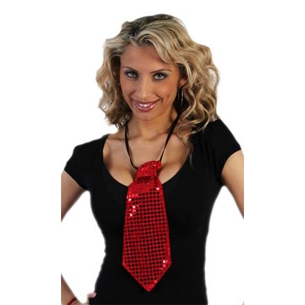 corbata de lentejuelas roja