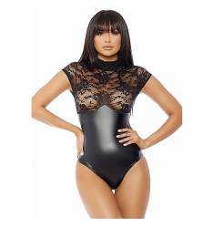 MOCK NECK BODY NEGRO CON ENCAJE
