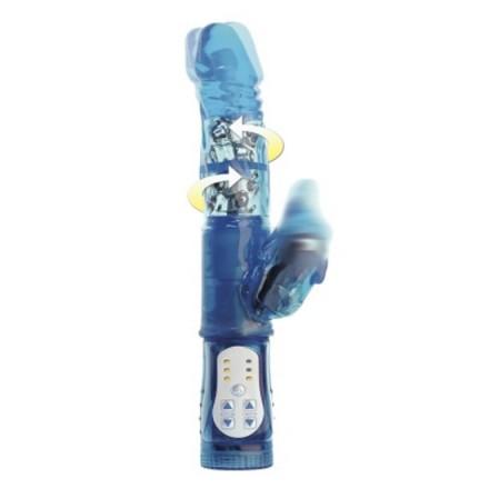 vibrador con estimulador de clitoris azul
